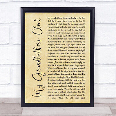 My Grandfather's Clock Rustic Script Song Lyric Music Gift Present Poster Print