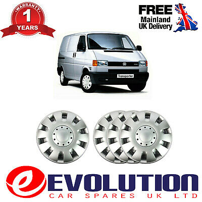 """4 X 15/"""" SILVER WHEEL TRIM COVER SET OF 4 FITS VW TRANSPORTER  T4 T5 1990-2014"""