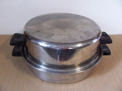 """Used Rena Ware Stainless Steel 3 Ply 18-8, 9 1/2"""" Skillet Pan w/ Dome Lid Nice!"""