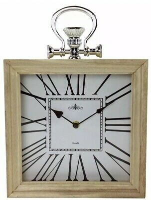 Square Wooden Roman Numeral Clock 34cm Tall Mantle Mantel Home FOB