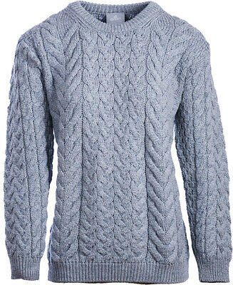 Ladies Cable & Weave Wool Crew Neck Sweater by Aran Mills - Light Grey