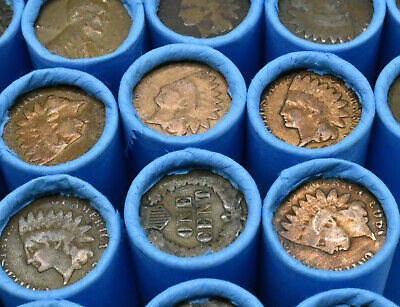 Old Lincoln Wheat Penny Roll Vintage Indian Head Cent on end US Collection Coins