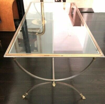 Hollywood Regency Maison Jansen ! Style Brass Steel Glass Cocktail Coffee Table
