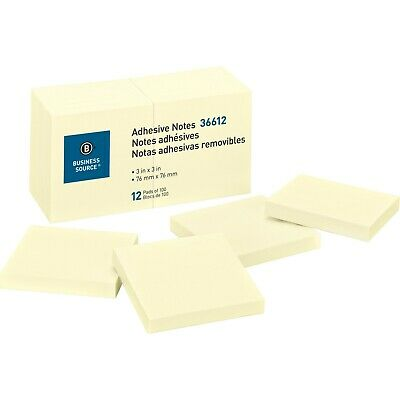Sticky Notes Business Source 36612, 3 x 3 inches, 1200 Premium Yellow Sheets