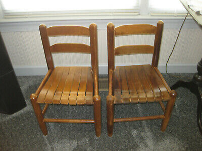 Vintage Pair Child's Ladder Back Chairs with Slat Seats