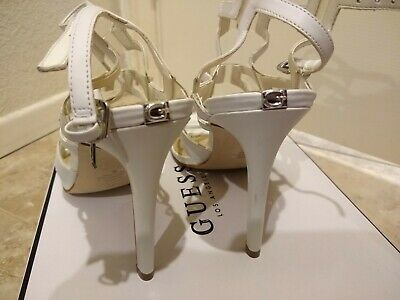 fac3efd0ed9f1 WOMENS GUESS HIGH geel brown leather strappy sandals, sz 6 - $8.00 ...