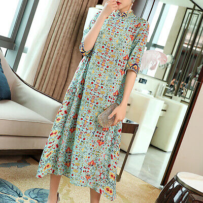 e32e93ada162b WOMEN CHINESE FASHION Vintage Cheongsam Floral Print Half Sleeve Silk Midi  Dress