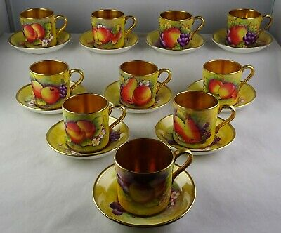 10 Paragon Hand Painted Fruit Scene w/Gold Demitasse Cup & Saucer Sets Rare