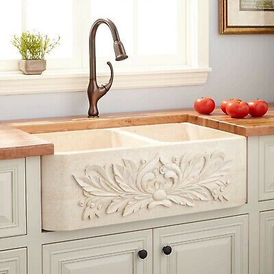 """Kitchen Sink 33""""Ivy Polished Marble 60/40 Offset Double-Bowl Farmhouse $1,800"""