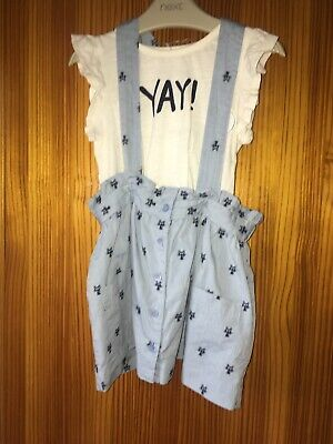 New NEXT Outfit Set T-shirt  Skirt With Braces Age 12 / 18 Months Girl