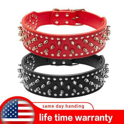 """BINGPET Spiked Studded Rivet PU Leather Dog Pet Puppy Collar 2"""" Large BLACK RED"""