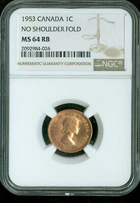 1953 Canada 1 Cent No Shoulder Fold Ngc Ms64 Rb Deal