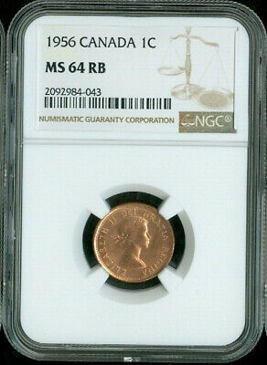 1956 Canada 1 Cent Ngc Ms64 Rb Deal