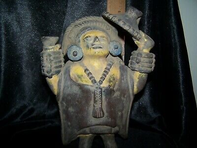 Pre-Columbian Rare God Diety Warrior Replica Metal Statue 300-900 AD