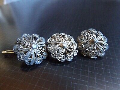 3 Vintage silver filigree buttons