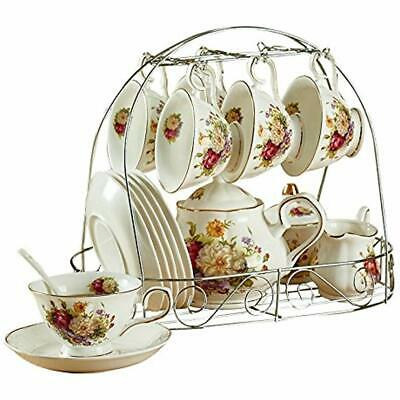 Ufengke Tea Sets 15 Piece European Ceramic Sets, Bone China Coffee With Metal