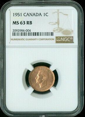 1951 Canada 1 Cent Ngc Ms63 Rb Deal
