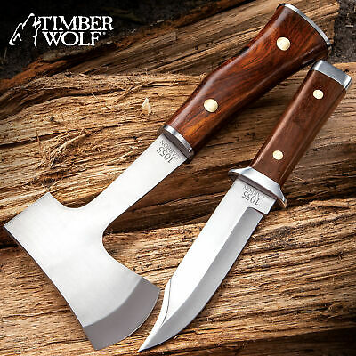 2pc FIXED BLADE KNIFE + AXE SET Hunting Camping Survival Wood Hatchet Tomahawk