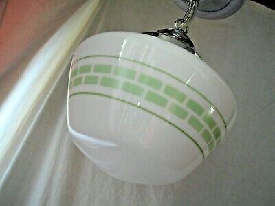 Vtg Antique Art Deco Industrial Bathroom Laundry Green Glass Light Fixture