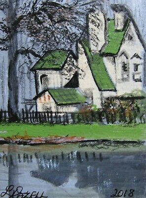 "A778    Original Acrylic Art Aceo Painting By Ljh     ""Paris Country Home''"