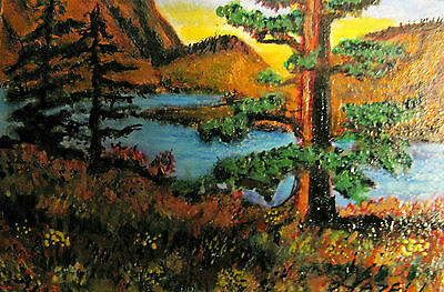 "A277  Original Acrylic Art Aceo Painting By Ljh     ""Elfin Cove, Bc"""