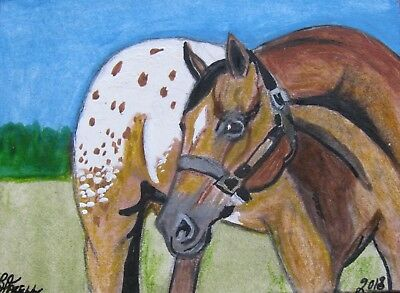 "A655     Original Acrylic  Aceo Painting By Ljh  ""Appaloosa""   Horse"