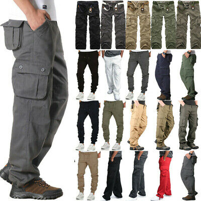 Mens Camping Army Cargo Camo Combat Military Trousers Camouflage Casual Pants