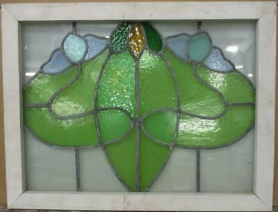 "MIDSIZE OLD ENGLISH LEADED STAINED GLASS WINDOW Gorgeous Abstract 29.5"" x 22.5"""
