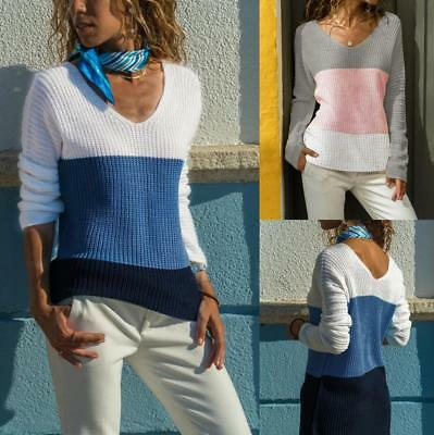 Women Knitted Loose Sweater V-neck Pullover Winter Casual Long Sleeve Jumper Top
