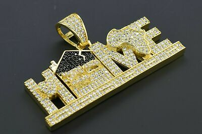 14K Gold Plated Hip Hop Bling CZ Iced Flashy Bling Home Pendant with Rope Chain
