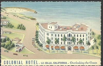 c1930 Colonial Hotel La Jolla Overlooking The Ocean California Postcard
