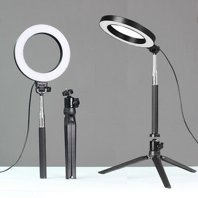 "6"" 5500K Dimmable LED SMD Ring Light Diffuser Mirror Stand Make Up Studio AK"