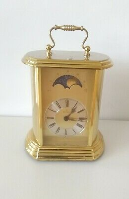 Montreux Moon Phase Clock Germany Hermle Quartz Vintage Carriage Mantle (used)