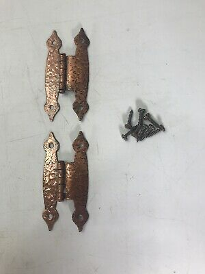 """SET OF 2 """"H"""" 3/8"""" Offset Cabinet 3"""" Hinges with Hardware -- Antique Copper"""
