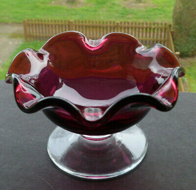 Antique Victorian Cranberry  Art Glass Footed Bowl Bon Bon Sweets