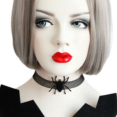 For Halloween Party Women Black Gothic Style Spider Choker Necklace Delicate Mak