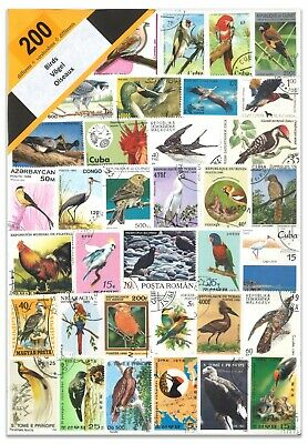 200 Different Birds Used Stamps Thematic Window Display Packet