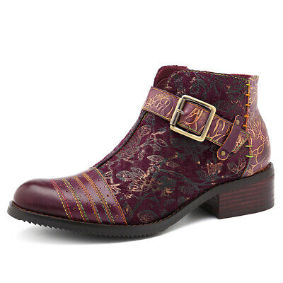 SOCOFY Handmade Embossed Leather Zipper Boots