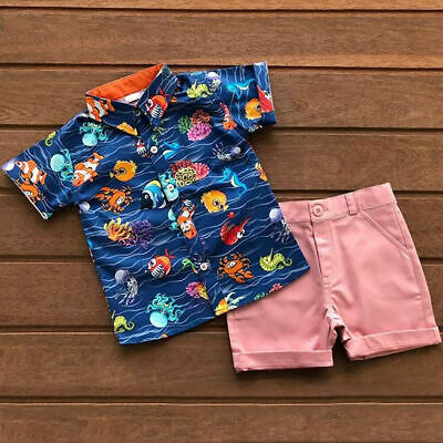 US 2Pcs Toddler Baby Boy Gentleman Clothes Animal Shirt Tops Short Pants Outfit