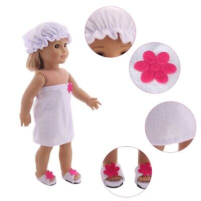 Baby Doll Toy Bunny Doll Bathrobe + Hat + Shoes 3Pcs Suitable for 18inch Doll