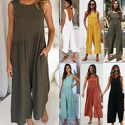 Women Sleeveless Crew Neck Loose Baggy Jumpsuit Playsuit Wide Leg Long Pants AU