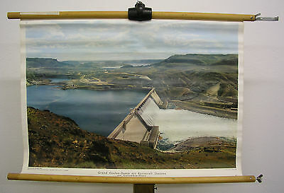 Bello Murale Grand Coulee-Damm Roosevelt-Stausee Columbia 75x51 Vintage ~1960