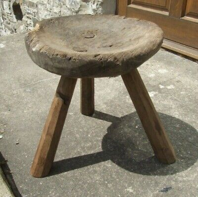 Antique wooden oak milking STOOL original rustic French? dished top + 3 legs