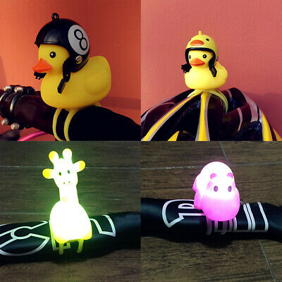 1-Cute Bike Horn Bicycle Light Animal Shape Bicycle Bell Squeeze Rubber Duck Toy
