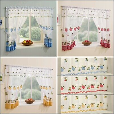 Kitchen Window Net Curtains Set With Apple & Cherry Embroidery & Gingham Trim