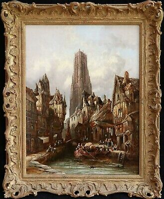 HENRY SCHAFER (1841-1900) SIGNED 1870's OIL ON CANVAS MARKET CATHEDRAL BRITTANY