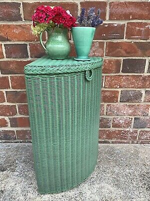 Small Vintage Green Lusty Lloyd Loom Corner Linen Basket