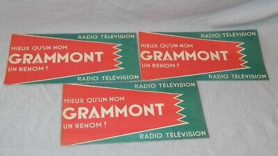 LOT DE 3 PUB ANCIENNE RADIO TELEVISION GRAMMONT collection affichette 1950 TBE