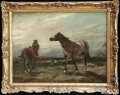 Georges Washington (1827-1910) Large Signed Orientalist Oil Arab Camp & Horses