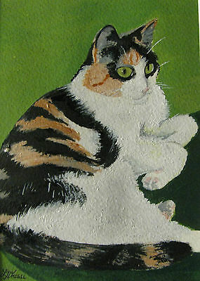"C305   Original Acrylic Painting By Ljh  ""Bosco""  Cat Kitten"